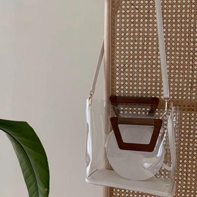 여성 크로스백 숄더백 가방 데일리 오핏 투명 목각