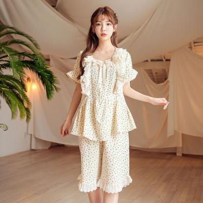 [쿠비카]이중프릴 거즈면 잔꽃 투피스 여성잠옷 W574