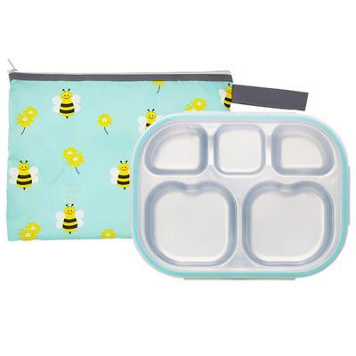 꿀벌대모험 하트형 민트 유아식판 뚜껑+파우치 포함