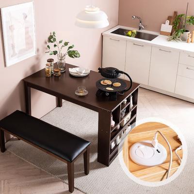 [채우리] 플러그인 4인 수납 식탁 테이블+벤치1