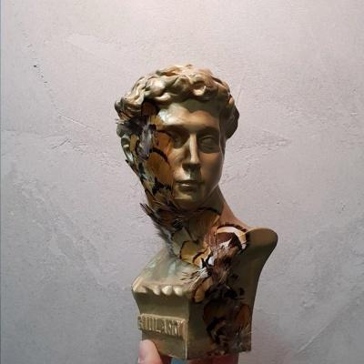 골드깃털아트 소형 미니 석고상화분 20cm내외+리본2개