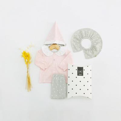 [메르베] 몽글몽글 신생아 출산선물세트(내의+모자+턱받이)_사계절용