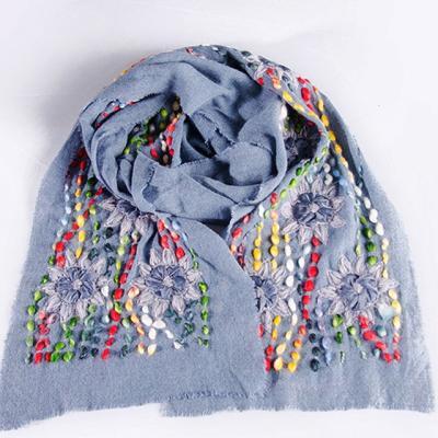 블루에 줄기끝이 작은 꽃 스카프