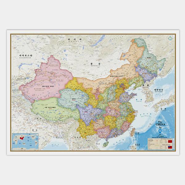 [무료배송]양면코팅 중국지도-행정