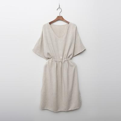 Linen V-Neck Tie Dress
