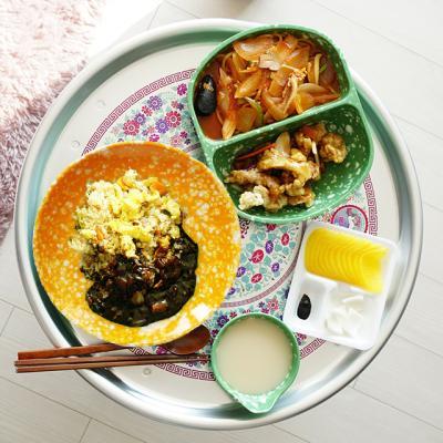 레트로 캠핑접시 떡볶이 그릇 쑥색/노랑이 18종