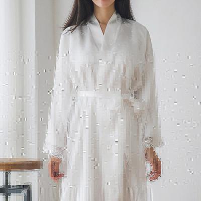 [쿠비카]하트 쟈카드 은사 새김 앙상블 여성잠옷 W239
