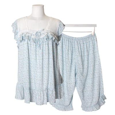 [쿠비카]민소매 스퀘어넥 플라워 투피스 여성잠옷W601