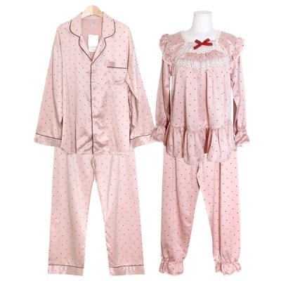 [쿠비카]심플한 도트 스퀘어넥 투피스 커플잠옷 WM302