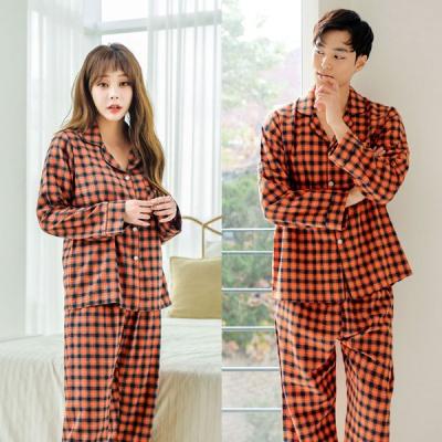 [쿠비카]허니 체크 기모 투피스 커플잠옷 WM199