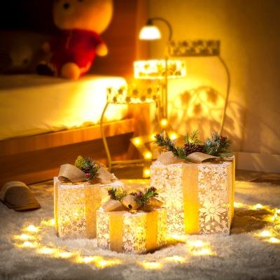 눈꽃 리본 선물상자 3종세트/크리스마스 트리장식