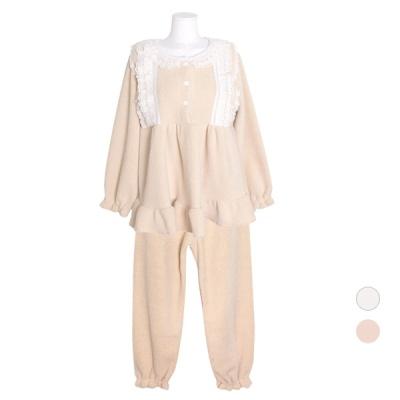 [쿠비카]앞섶 레이스 양털 투피스 여성잠옷 W696
