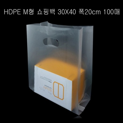불투명 HDPE M형 팬시봉투 30X40cm 옆면20cm 100매