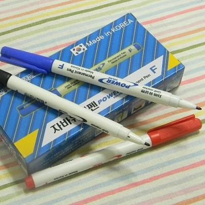 [JAVA] 플라스틱,유리,비닐,카드 등에 사용할 때-중간글씨용 자바 네임펜 F/1다스(12자루) A154-2s