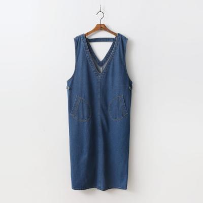 Denim V-Neck Long Dress