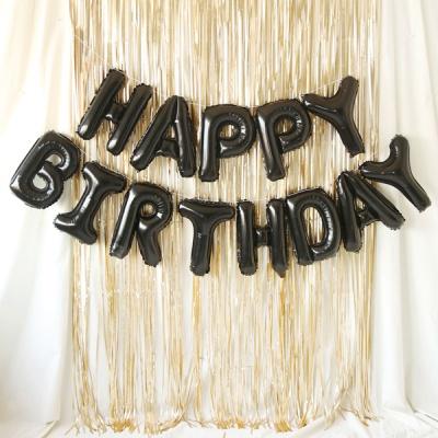 은박풍선 커튼세트 (HAPPY BIRTHDAY) 블랙