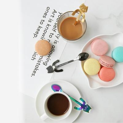 컵에 걸어두는 사우나 고양이 티스푼 7color