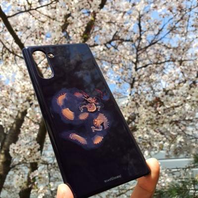 전통 명화 검은 구름 운룡도 흑색 휴대폰 케이스