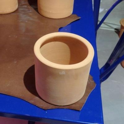황토빛 황원통(소) 14x14cm 토분(갈색화분)
