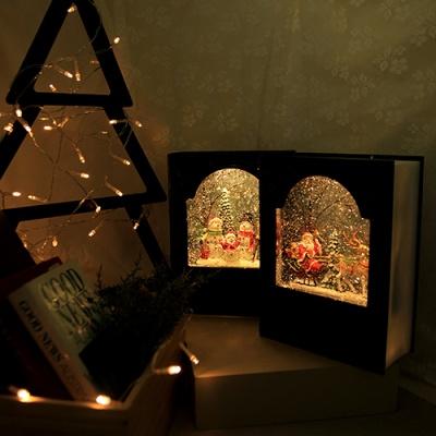 해피 크리스마스 빈티지 북 워터볼 오르골 무드등