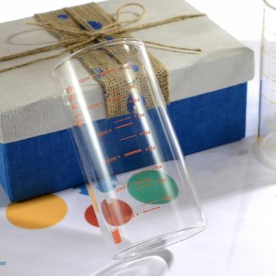 기본형 내열 계량 유리컵 중 1개 (색상랜덤)