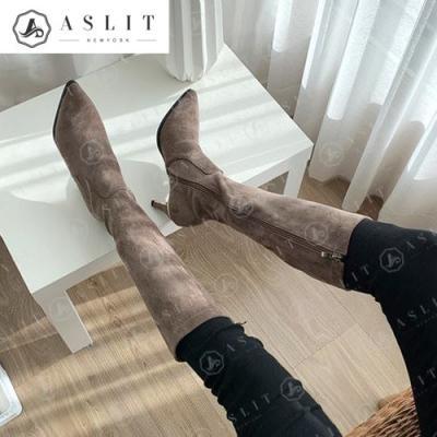 [애슬릿]안감 기모 세무 골드 엣지힐 롱 부츠 7cm