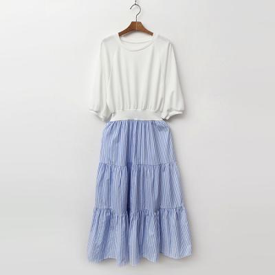 Combo Stripe Cancan Long Dress
