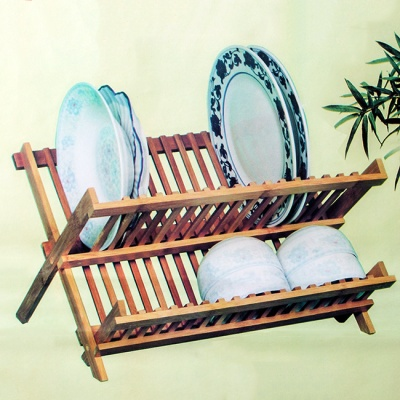대나무 접이식 접시 선반