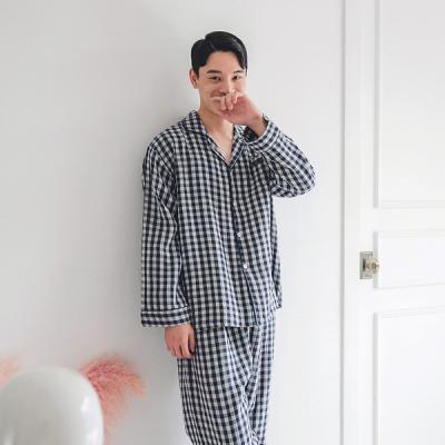 [쿠비카]네이비 이중지 체크 남성잠옷 BNBR-M074