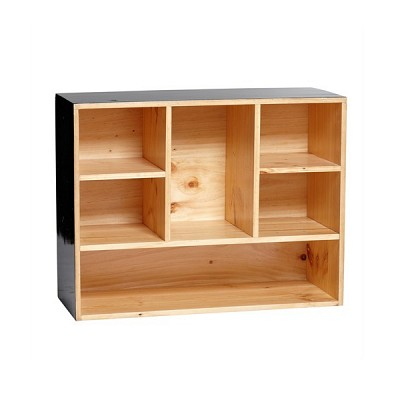 [Hubsch]Shelving unit w/6 compartments, wood, black 886029 벽선반