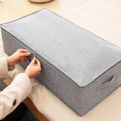 패브릭 언더베드 수납 이불 박스 정리함 가방 (특대)