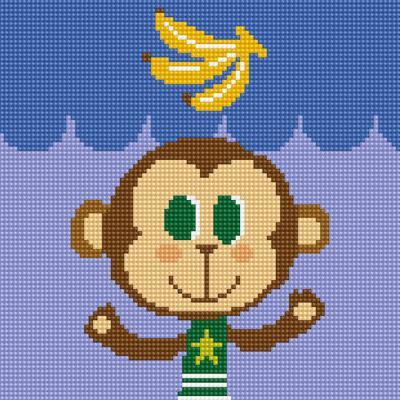 아기 원숭이 프랭키 (캔버스형) 보석십자수 25x25