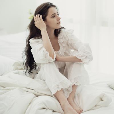 플라워 패턴 레이스 화이트 투피스 잠옷 홈웨어