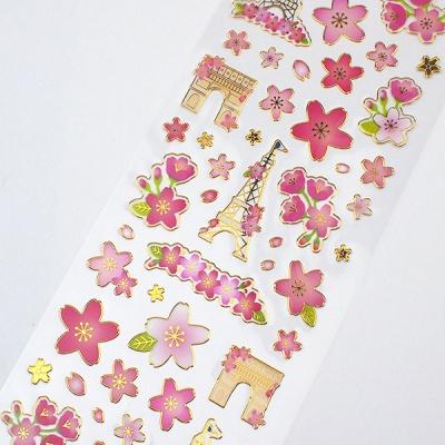 벚꽃 금박 스탬핑 스티커 귀여운 핑크 장식 스티커