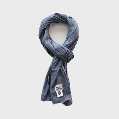 Cotton stripe scarf-Indigo