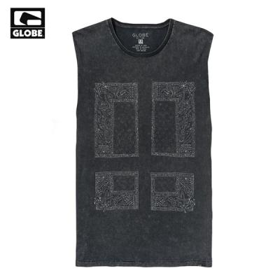 [GLOBE] ALL TIME CUT OFF TANK TOP (ACID BLACK/BANDANA)
