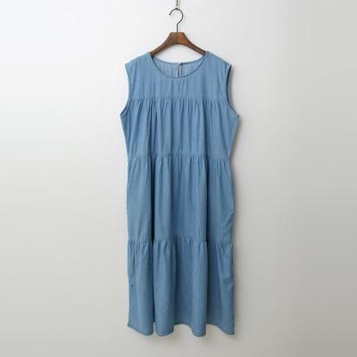 Summer Denim Cancan Long Dress