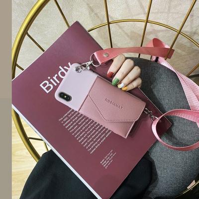 아이폰xr xs max 8 7+ 카드지갑 실리콘 케이스 목걸이