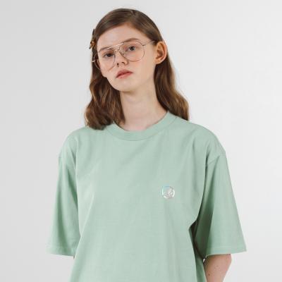 A 서클 홀로그램 슬릿 반팔티셔츠 (민트)