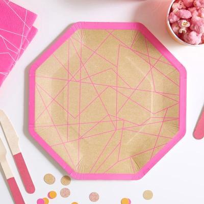 네온핑크 종이접시 Neon Pink Paper Plates GR
