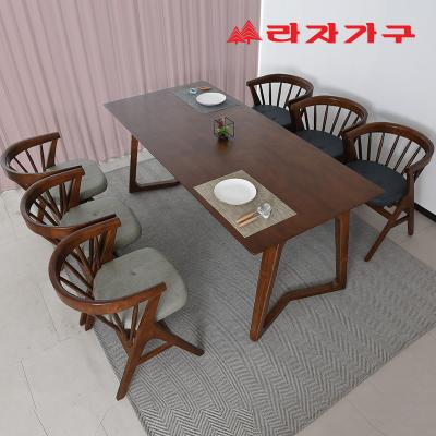 팔키 고무나무 원목 4인 식탁+의자 세트