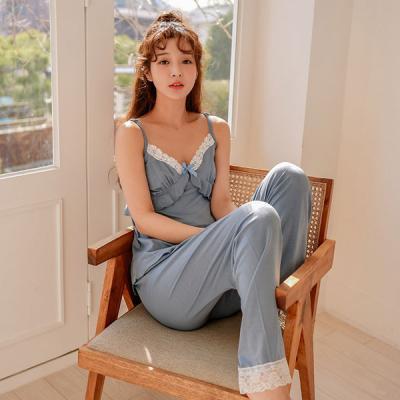 [쿠비카]민소매 9부팬츠 텐셀 투피스 여성잠옷 W461