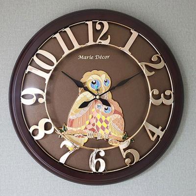 예쁜 인테리어 Wall Clock 넘버링 우드 부엉이 골드