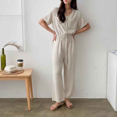 Linen Pocket Wide Jumpsuit