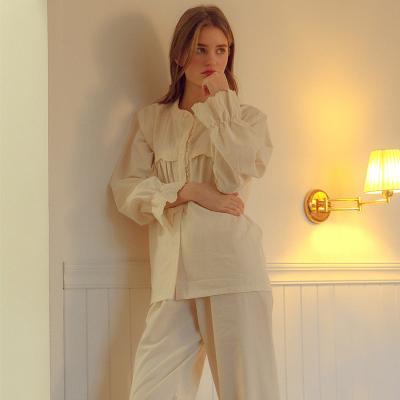 Angel 단추 레이스 면잠옷 투피스 파자마