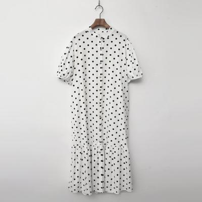 Dot Puff Shirts Long Dress