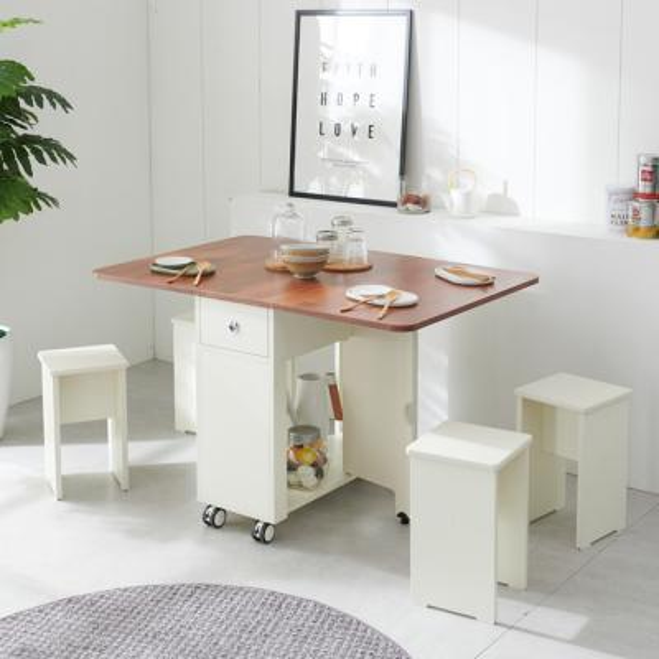 이동형 폴딩 테이블 식탁(LPM)+의자4개 KD474