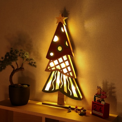 LED 크리스마스 우드 트리 무드등