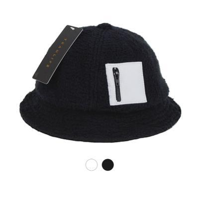 [디꾸보]지퍼 디테일 버킷햇 벙거지 복슬 모자 ET673