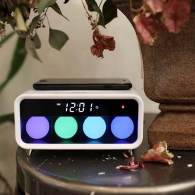 [무아스] 무선충전 무드등 LED 탁상시계 MC-W1